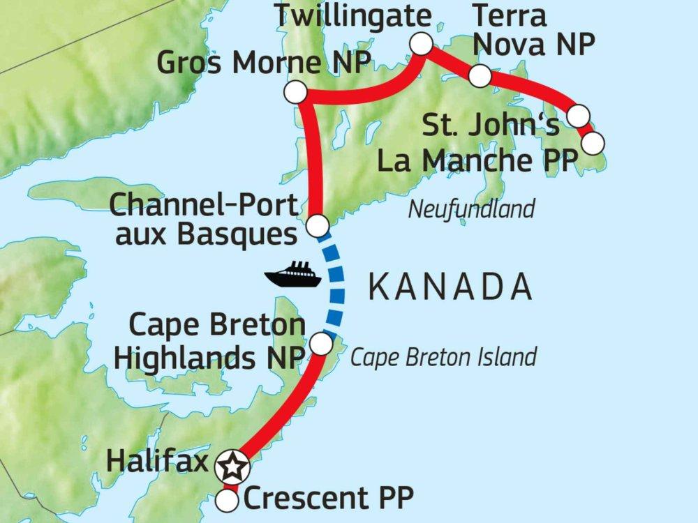 123H20010 Entdeckerreise zu Ostkanadas Atlantikprovinzen Karte