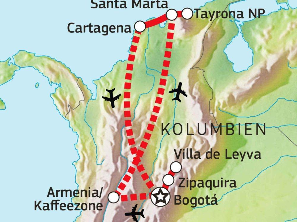 198Y30018 Kolumbiens Höhepunkte Karte