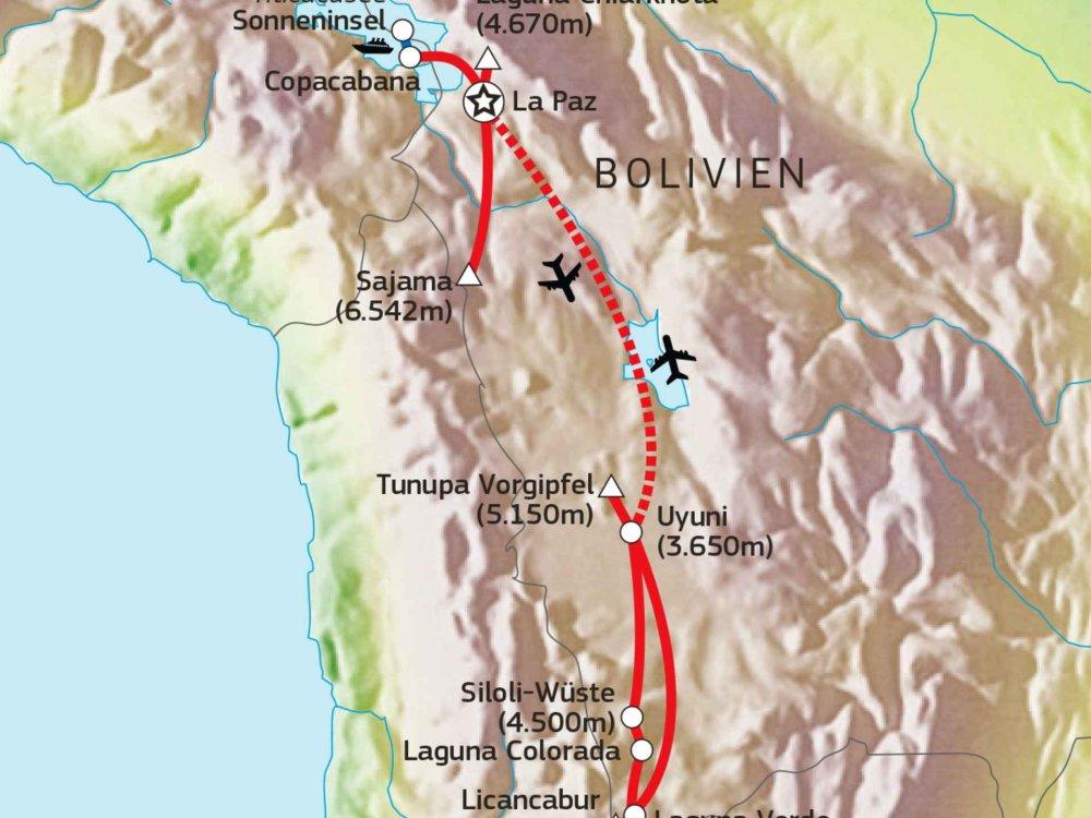 188B00018 Gipfelträume zwischen Bolivien & Chile Karte