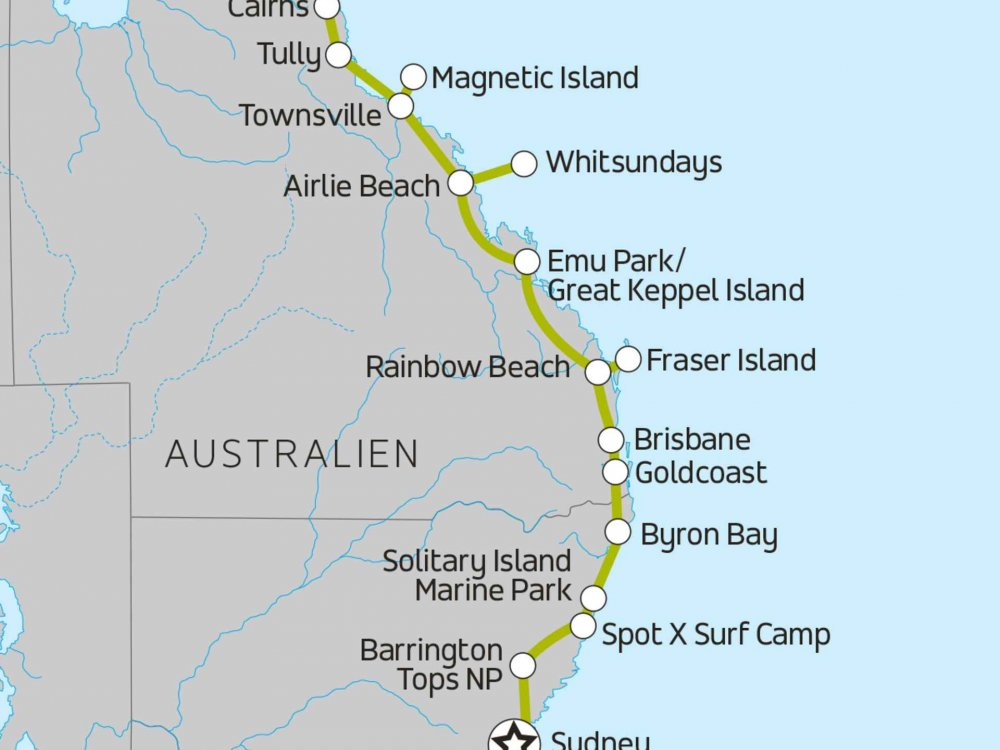 102A10009 Erlebnistour von Sydney nach Cairns Karte