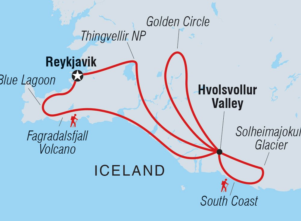 Karte Golden Circle Vulkan Fagradalsfjall