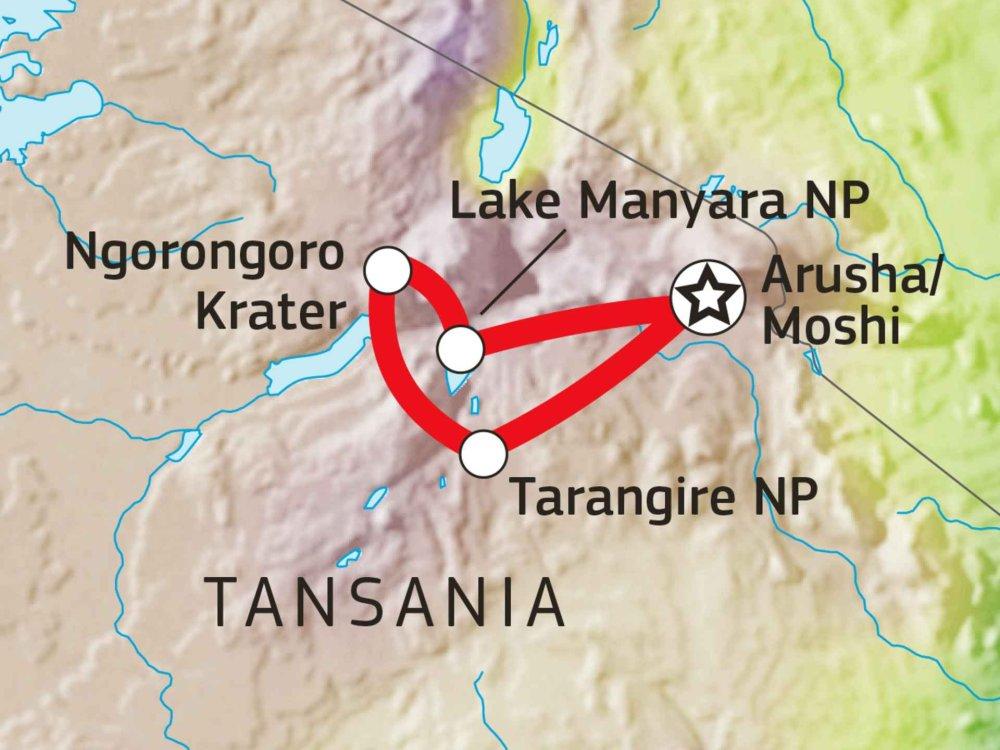 140E11008 Camping Safari Tansania - Tarangire, Manyara & Ngorongoro Karte