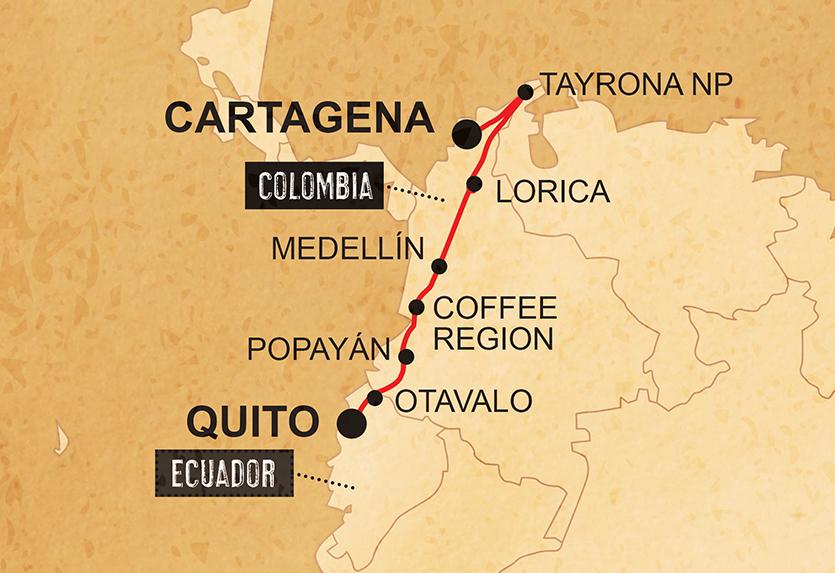 Von Quito nach Cartagena Karte
