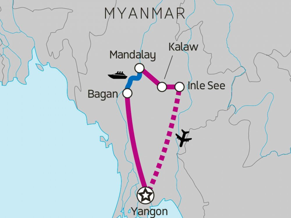 131Y21107 Höhepunkte von Myanmar Karte