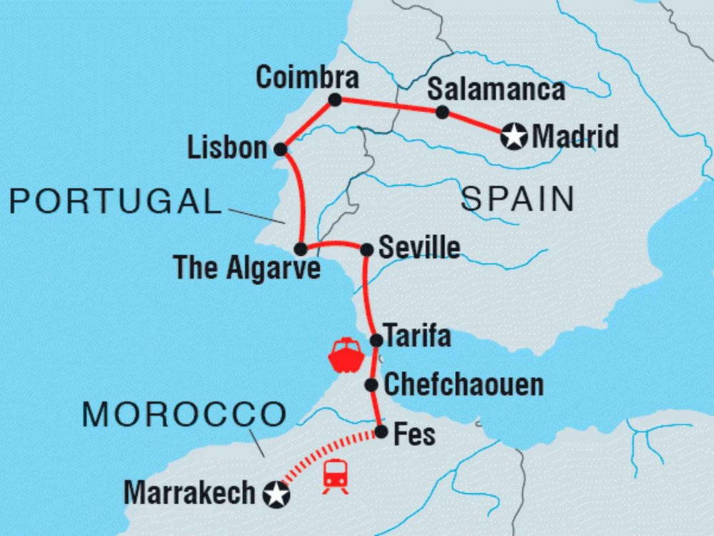 122Y21036 Von Madrid nach Marrakesch Karte
