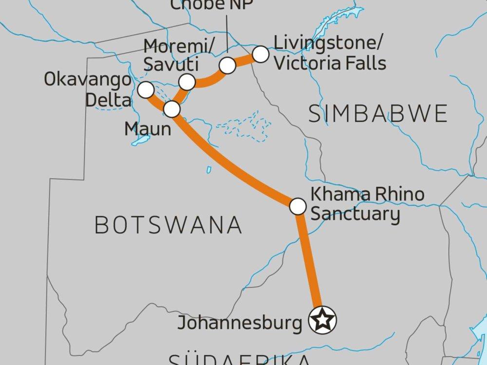 126U11003 Wildes Botswana Karte