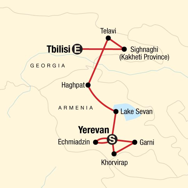 Erlebnisreise Georgien Armenien Karte