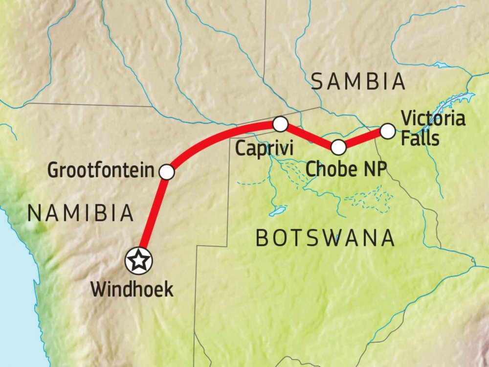 156T00009 Selbstfahrertour von Windhoek nach Victoria Falls Karte
