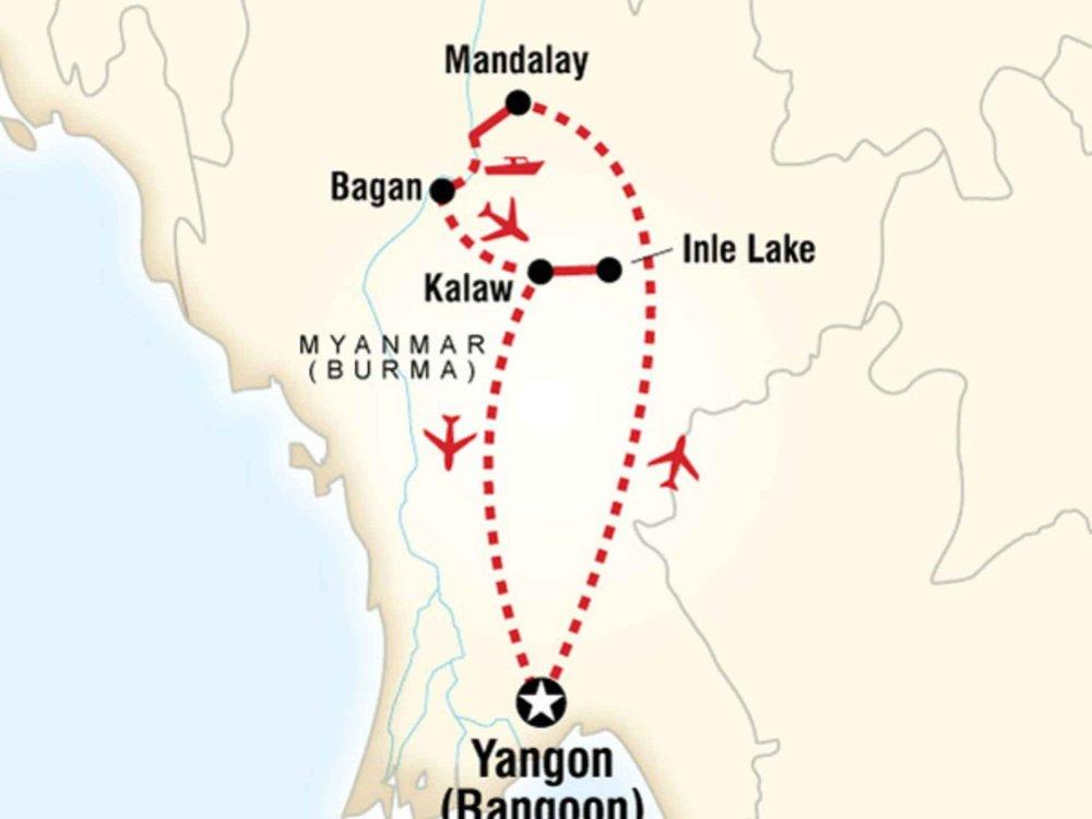 130G35019 Im Herzen von Myanmar Karte