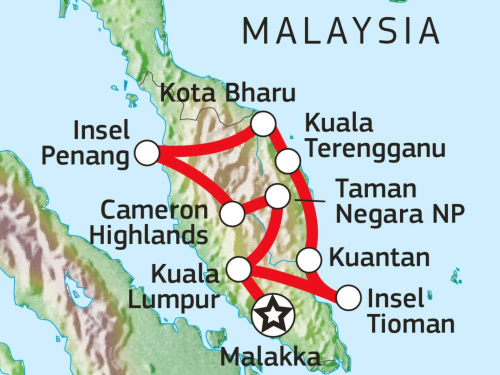 103M25001 Westmalaysia intensiv: Kultur, Natur & Inselparadies Karte
