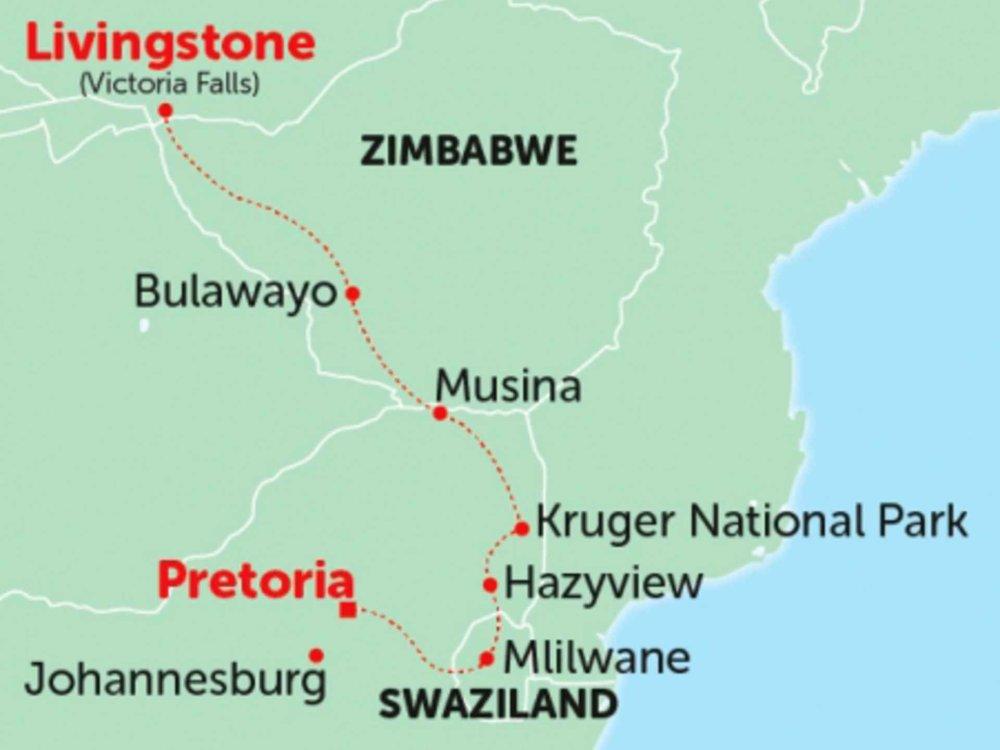 135Y10249 Safari, Swasiland und Simbabwe Karte