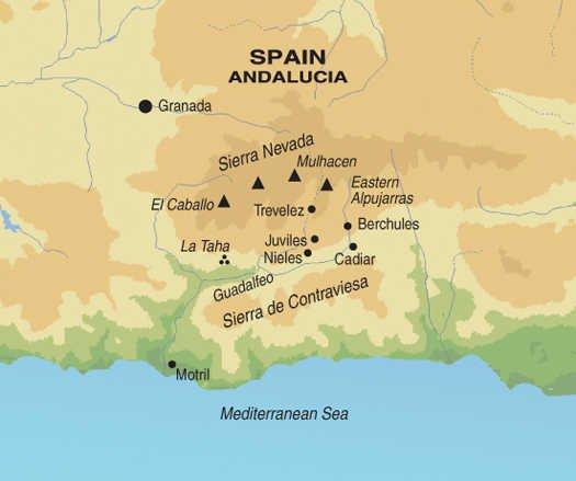 Andalusien Wanderreise Karte