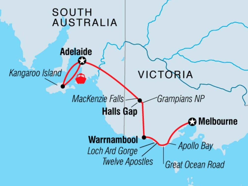 104Y20046 Kangaroo Island & Great Ocean Road Karte