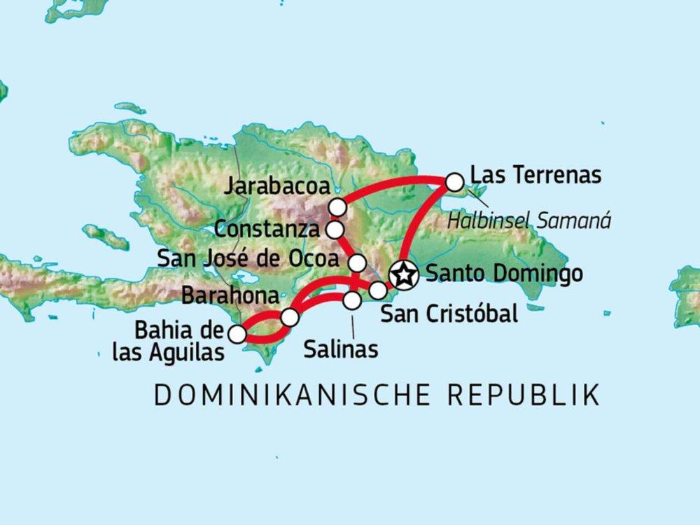 188D00001 Jeep Abenteuer durch die Dominikanische Republik Karte