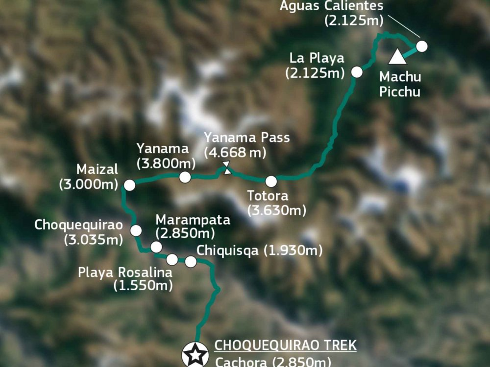188P00003 Choquequirao Trek nach Machu Picchu Karte