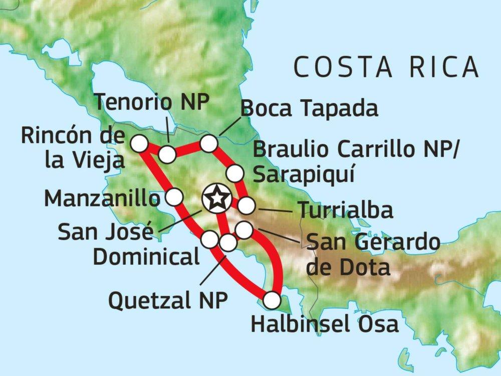 198Y21002 Versteckte Naturschönheiten Costa Ricas Karte