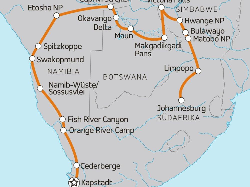 Von Kapstadt über die Victoria Fälle nach Johannesburg Karte