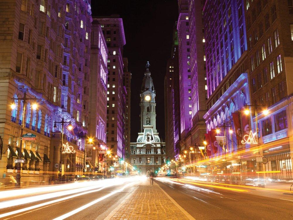 Philadelphia Straße bei Nacht