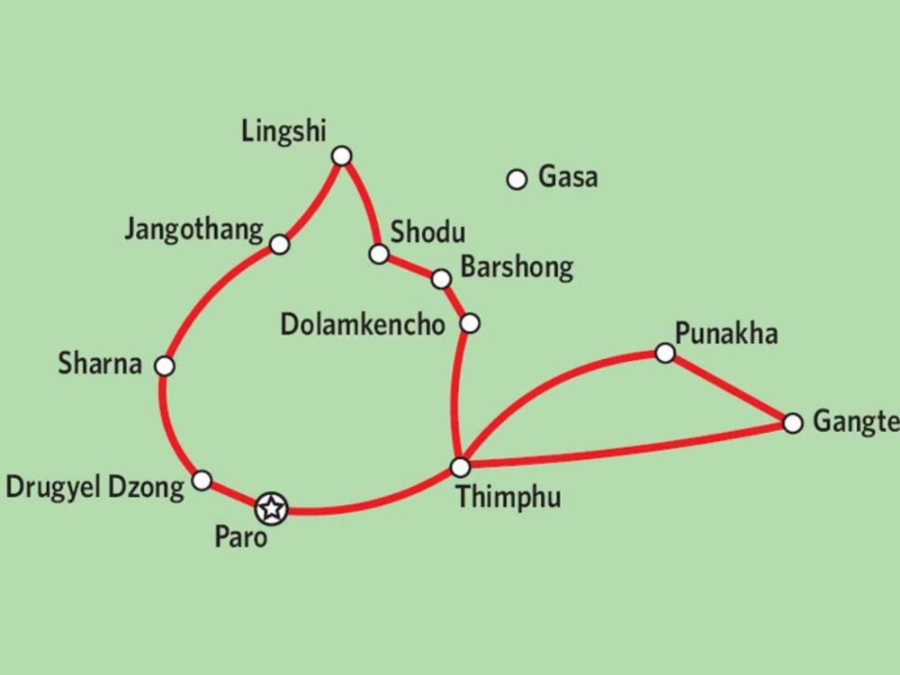169Y10003 Bhutan - Chomolhari Trek Karte