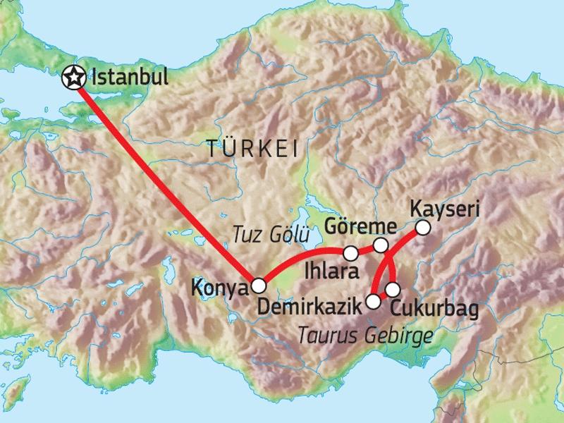 125T10012 Kappadokien & Taurus-Gebirge Karte