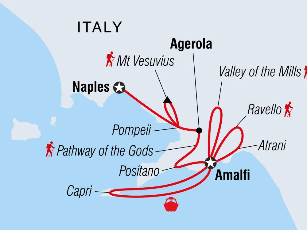 Wandern und Kajak fahren an der Amalfiküste Karte