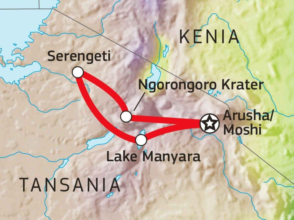 140S11003 Tansania Lodge Safari III Karte