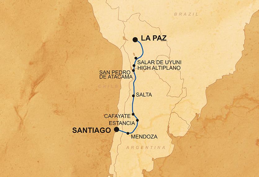 Durch die Anden von La Paz nach Santiago Karte