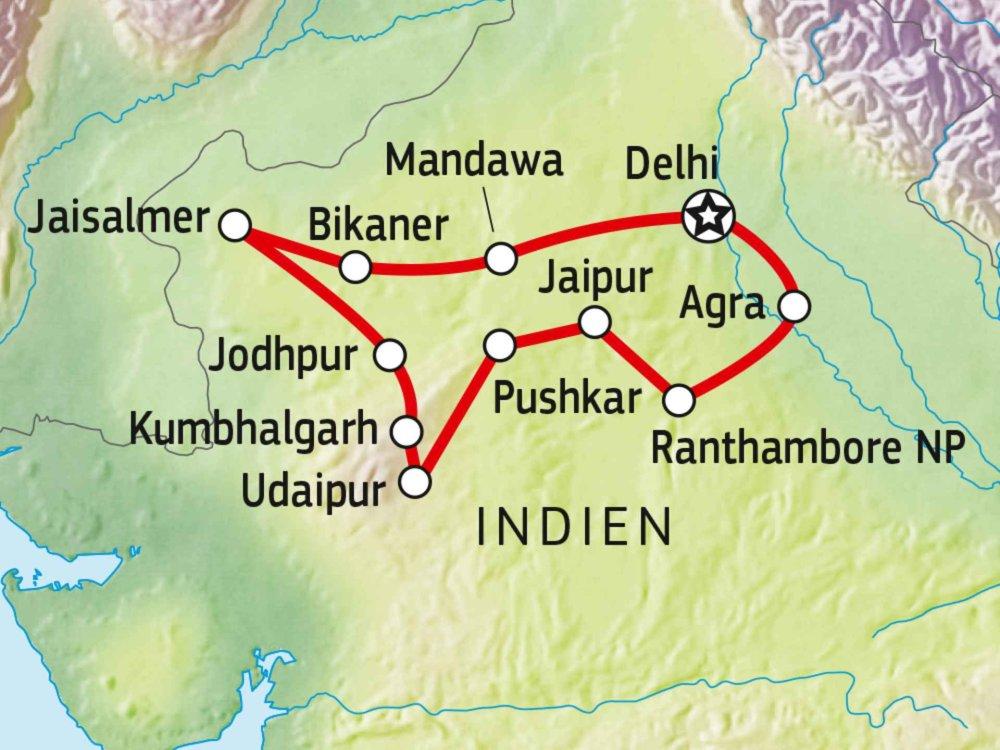 180T20020 Rajasthan Entdeckertour Karte