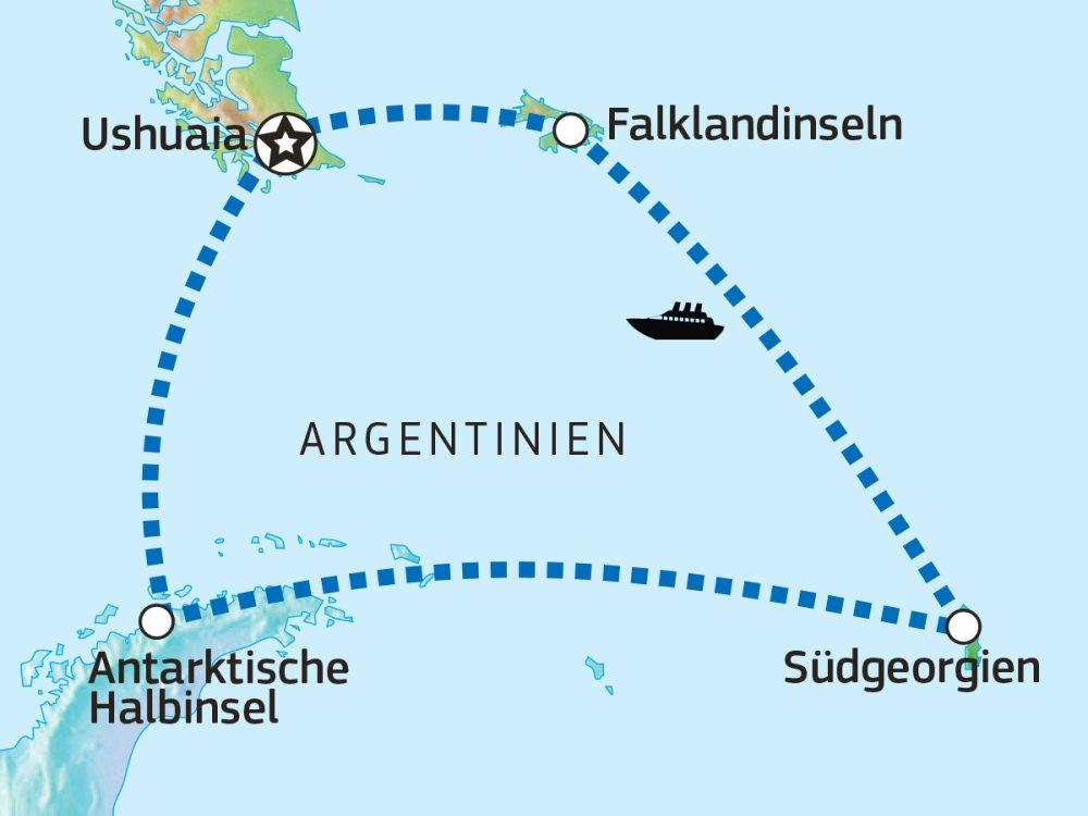 Falkland Inseln Südgeorgien Antarktische Halbinsel Karte