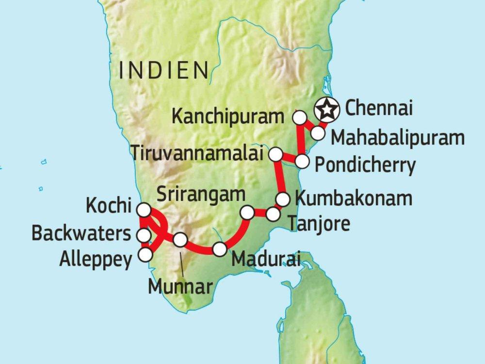 Tamil Nadu Kerala Karte