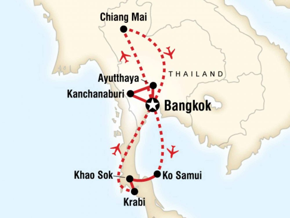 130G35017 Thailand Entdeckertour Karte