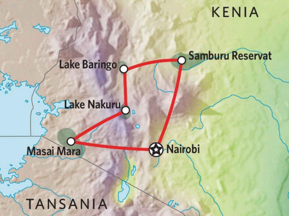 176Y10007 Kenia Lodge Safari VII Karte