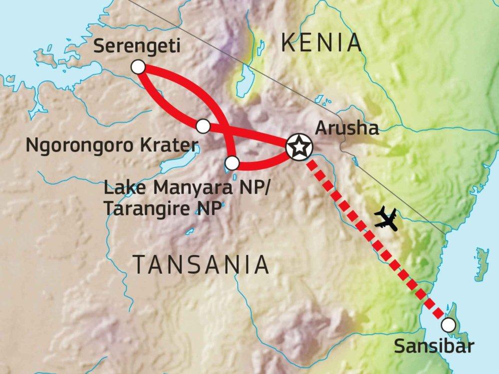 140S10500 Safari Tansania & Sansibar Karte