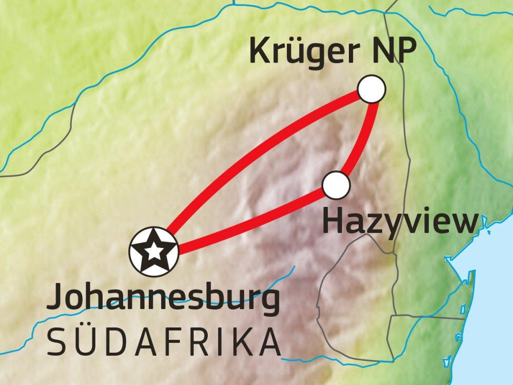 Abenteuer Safari im Krüger Nationalpark Karte