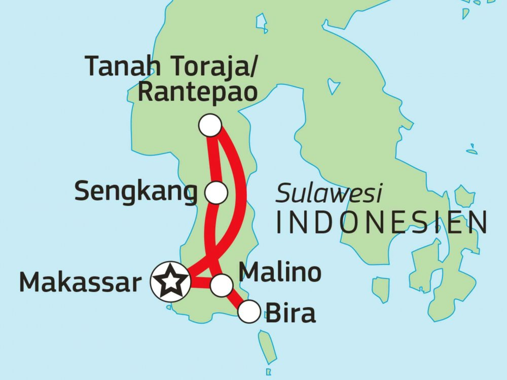 124Y21066 Erlebnisreise Südsulawesi – Vom Traumstrand ins Torajaland Karte