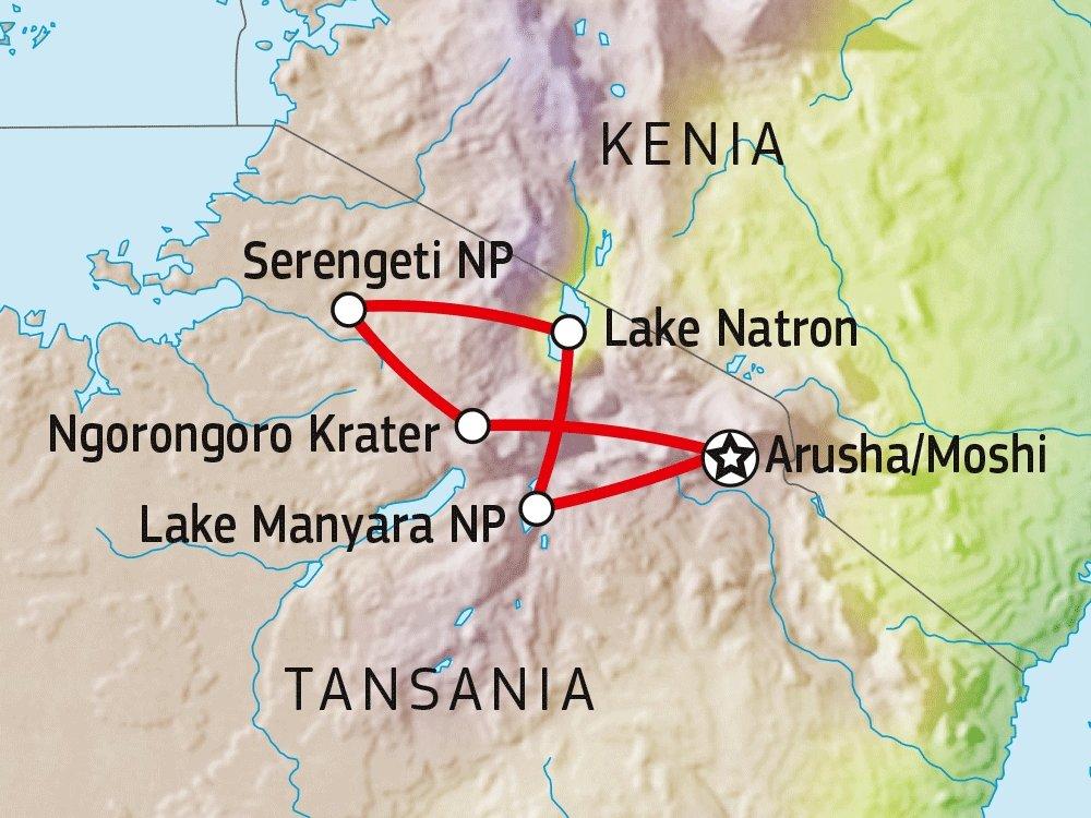 140S31006 Erlebnis Serengeti, Ngorongoro & Lake Natron Karte