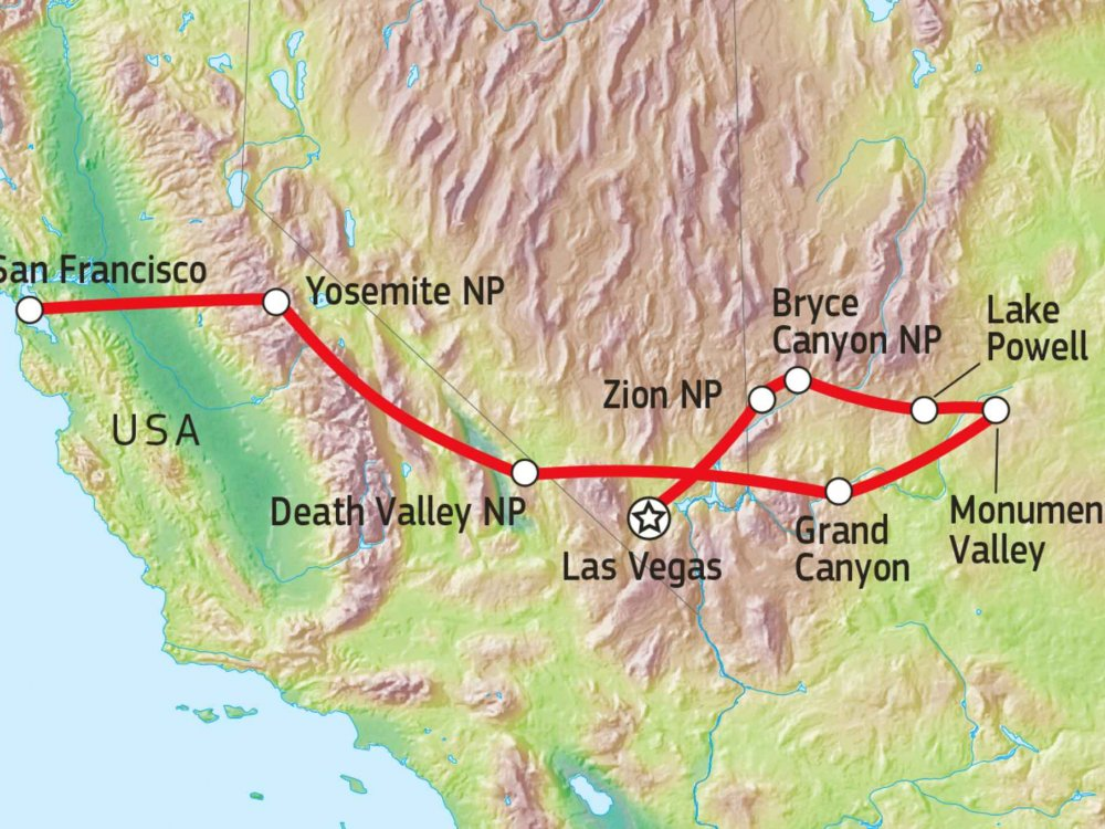 187W11000 Wandertour in den Nationalparks des Westens Karte