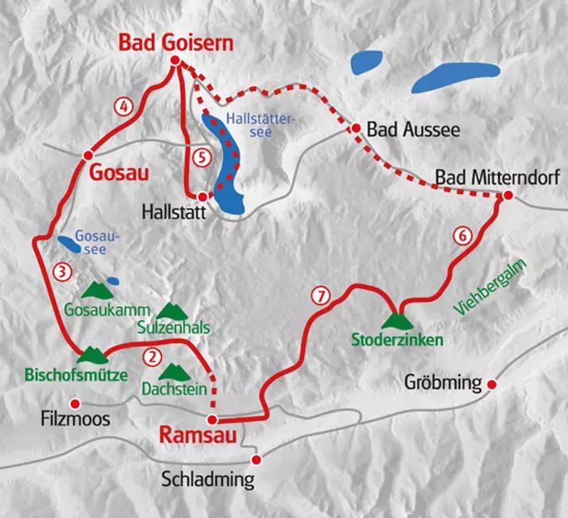 Karte Dachstein Höhenrundweg
