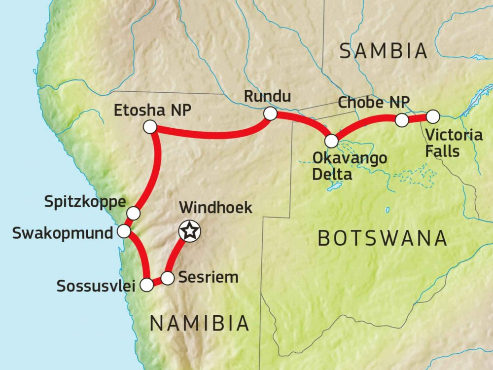 184Y10014 Naturparadiese Namibia & Botswana Karte
