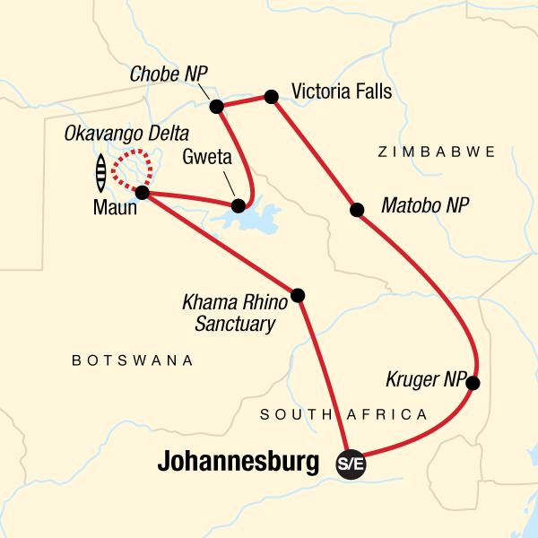 Karte Südliches Afrika intensiv