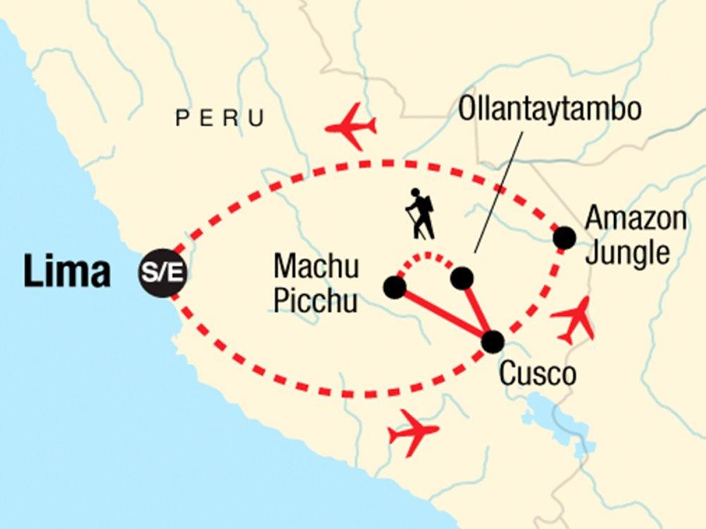 Reise vom Amazonas in die Anden Karte