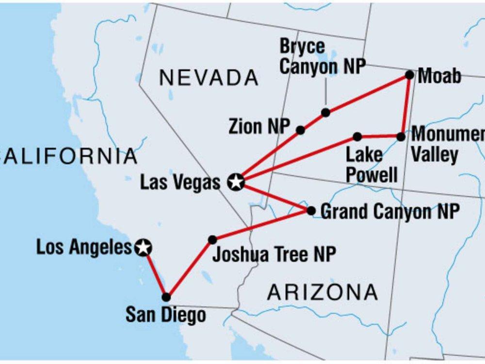 122Y10024 Western USA - Naturwunder & Outdoor-Erlebnisse Karte
