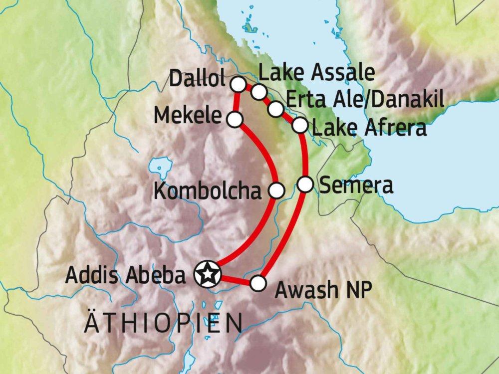 194Y10001 Danakil-Senke mit Besteigung des Erta Ale Karte
