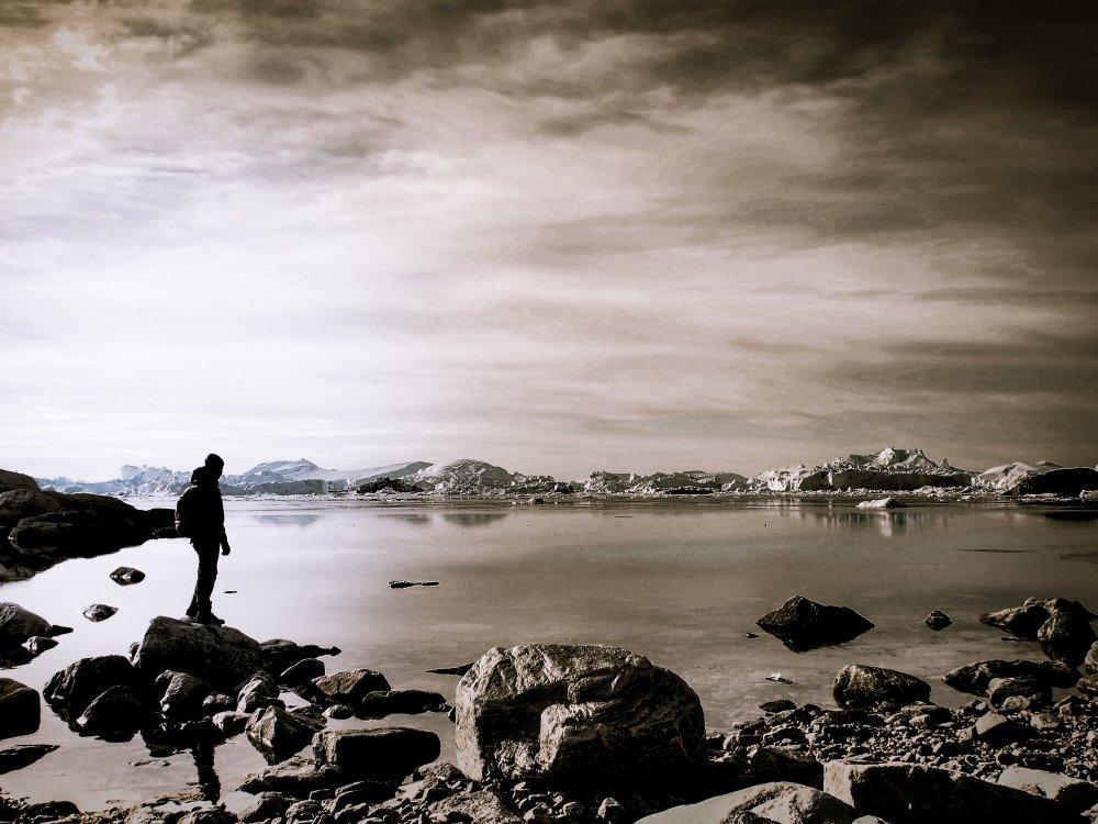 Ilulissat Besucher am Fjord
