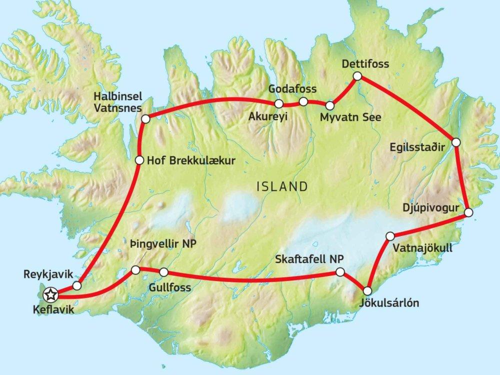 145Y21009 Rund um Island Karte