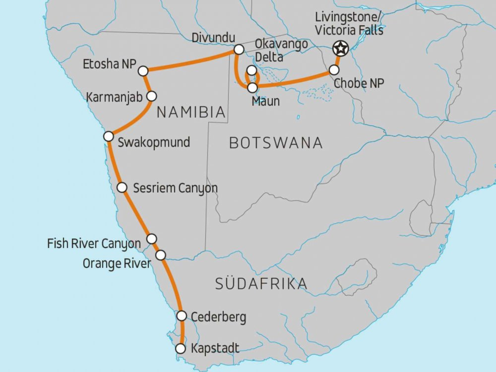 135Y10170 Vic Falls to Cape Town Karte