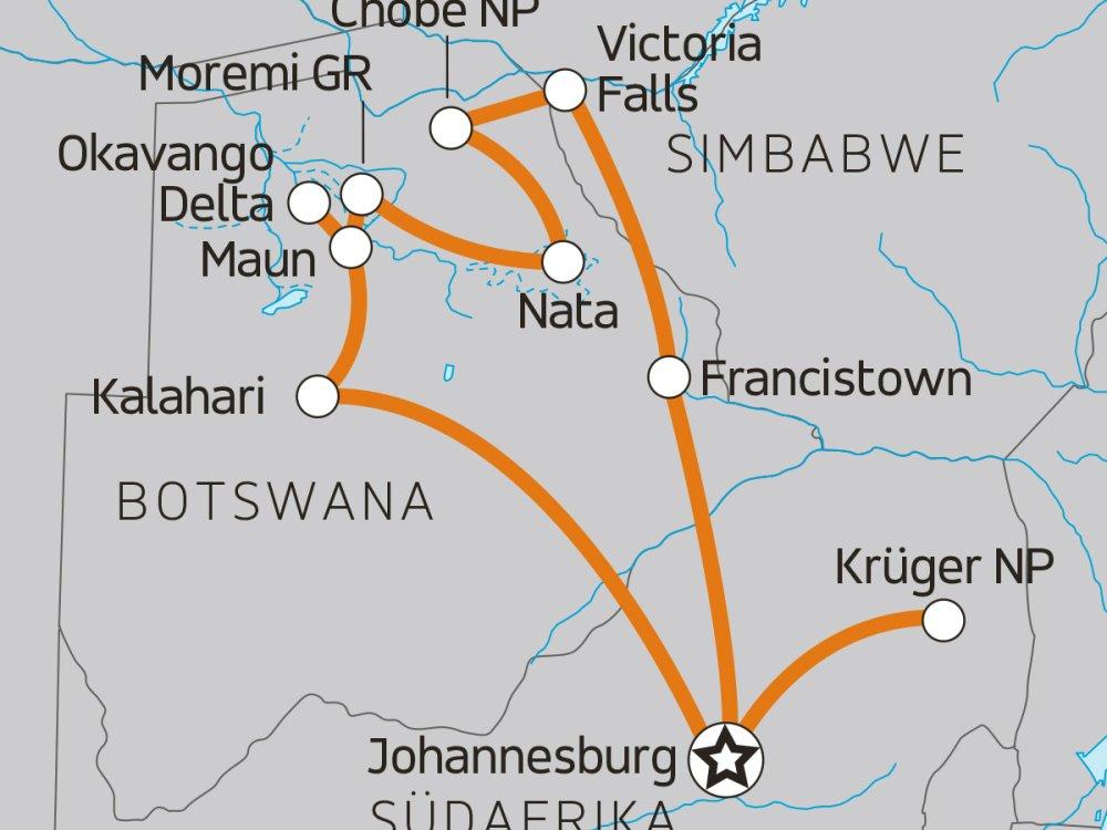 Karte Delta, Chobe & Krüger