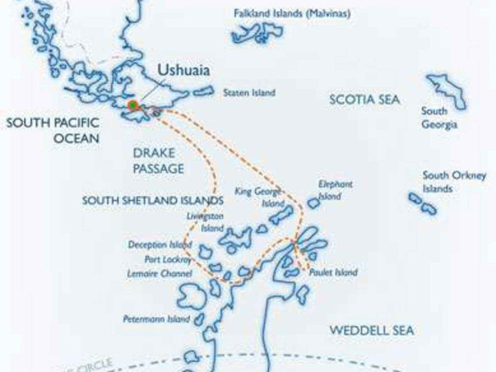 Antarktis und Vorstoß ins Weddellmeer Karte