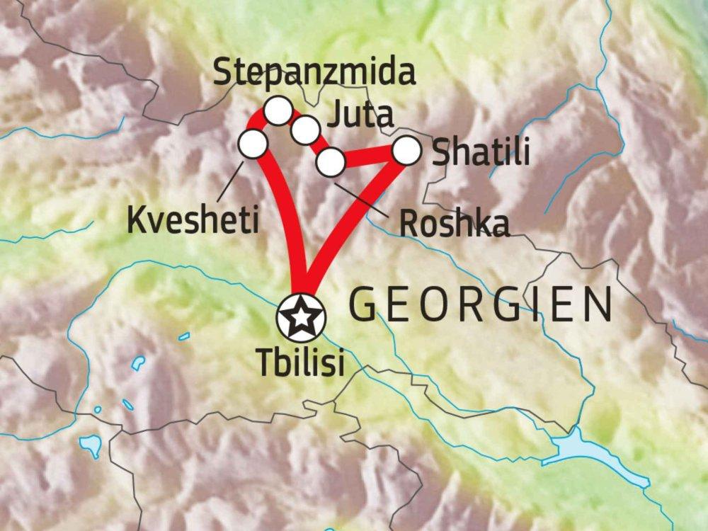 178Y31010 Wanderabenteuer Kasbeg & historische Wehrdörfchen Karte