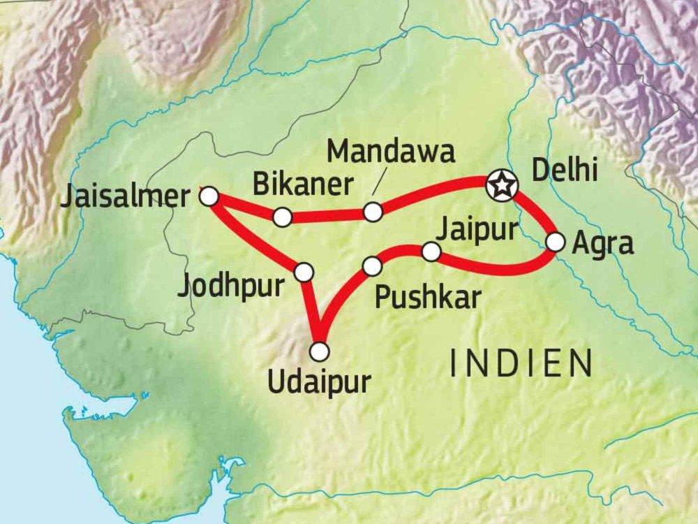 180T20025 Geheimnisvolles Rajasthan Karte